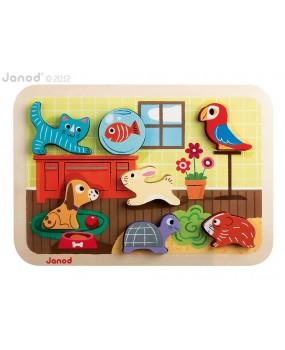 Domácí zvířátka chunky puzzle, Janod