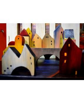 Dřevěná skládačka Město